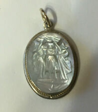 Vintage Sterling Silver Oval Carved Mother-of Pearl w/ Twisted Gold Band Charm