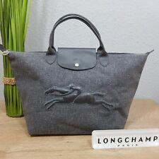 Longchamp Victoire Tote Canvas beschichtet grau mit Reiter modele depose