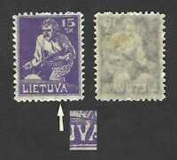 """Lithuania 1921 VARIETY … 15sk with extended """"V"""" in """"Lietuva"""" (Mi.88) … MH *"""