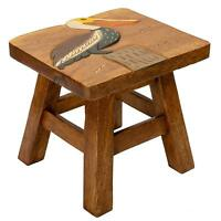 Pelican Design Hand Carved Acacia Hardwood Decorative Short Stool