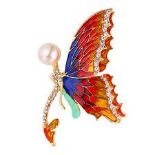 U7 Beautiful Dancing Butterfly Pin Brooch 18K Gold Plated Pearl Wedding Jewelry