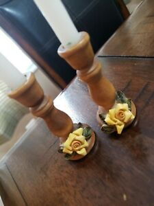 Vintage Wooden Miniature Candlesticks Table Candle Holder Decorations w/ Candles