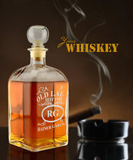"""Whiskykaraffe mit Gravur """"Emblem Old Label"""", mit Personal. Whiskeyflasche Herren"""