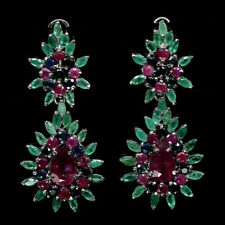 NATURAL PINK RUBY EMERALD & SAPPHIRE EARRINGS 925 SILVER STERLING