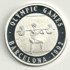 Medaille Olympische Spiele 1992 999er Silber Gewichtheben Zertifikat PP