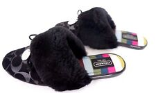Coach Carra Women Shoes Slippers Black Suede Shearling Footwear Flats  Flop 7