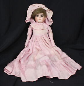 Vtg Doll With Leather Body Jointed Legs Stitched Porcelain Head Needs TLC 235 17