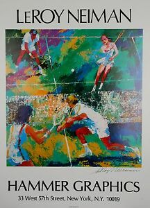 """Hammer Graphics """"Mixed Doubles"""" by Leroy Neiman Signed Poster w/ CoA 1997"""