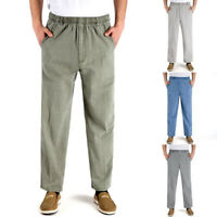 Men Elastic Loose Straight Pants Beach Yoga High Waist Linen Long Trousers Pants