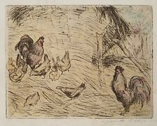 "After Guido Colucci (Italy 1877-1949) Hand Colored Etching  ""La Familla du Croy"""
