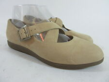 Rockport W2662 Womens Size 8 M Mary Jane Beige Suede Leather Slip On Flats Shoes