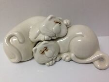 """Vintage 1977 Fitz and Floyd """"Cat Nap"""" salt and pepper shakers."""