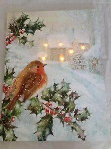Straits Robin Christmas 40cm x 30cm LED Light up Canvas Picture