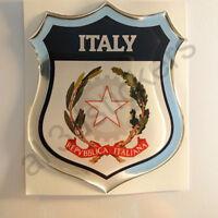 Pegatina Italia Escudo de Armas 3D Emblema Vinilo Adhesivo Resina Relieve Coche