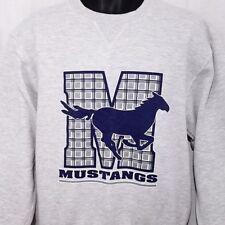 Mustangs Sweatshirt Vintage 90s Crew Neck Horse Equine Heather Gray Size Small