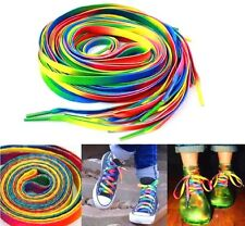 2PCS Rainbow Multi-Color Flat Shoe Laces Shoelaces Strings for Unisex Sneaker