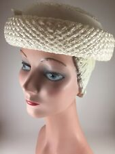 Vintage 1950s Womens Hat Cream Rolled Brim Straw Lady's Grosgrain Ribbon USA