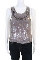 3.1 Phillip Lim Womens Sleeveless Sequined Silk Blouse Top Gray Size 4