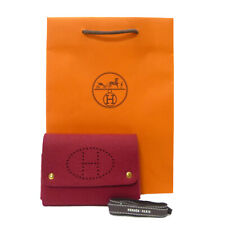 Authentic HERMES Evelyne Trump Playing Card Case Pouch Felt Red #K501043