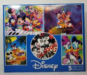 Disney 5-in-1 Jigsaw Puzzle Set Mickey Mouse Minnie Donald Duck Daisy Goofy New
