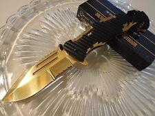 Tac-Force Assisted Black Gold Chrome Titanium Split Blade Pocket Knife TF-932BG