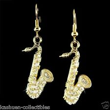 SAXOPHONE~ made with Swarovski Crystal Music Musical instrument TENOR Earrings
