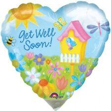 "Get Well Soon Balloon 18"" Heart Shaped flowers bird house foil mylar"