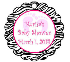 10 Circle Baby Shower Zebra Favor Tags - Baby Feet