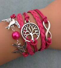 Bracelet rose fushia couple d'oiseau, colombe.arbre de vie et lien infini