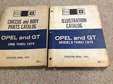 1968 1969 1970 1972 1973 1975 BUICK OPEL & OPEL GT Parts Catalog Manual SET x