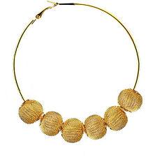 "Basketball Wives Inspired Mesh Beads Balls Large Hoop Earrings 3.5"""