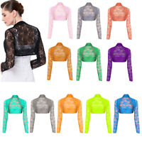 Women Sheer Lace Shrug Bolero Ladies Long Sleeve Short Cropped Cardigan Top