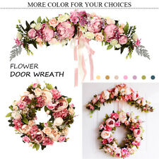 Silk Artificial Flowers Peony Bouquet Garland Wreath Wedding Door Wall