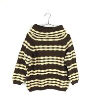 Vintage 60s Wool Knit Sweater Turtleneck Made in Italy Sz 36 Striped Thick Women