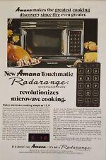 1975 AMANA Vintage Print Ad Touchmatic Radarange Microwave Oven Cooking