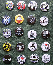 SKA COLLECTION 20 X 25mm BUTTON BADGES SET 2 REGGAE SKINHEAD SCOOTER LAMBRETTA