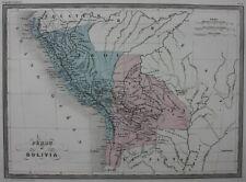 SOUTH AMERICA, PERU, BOLIVIA, original antique map, Malte-Brun, c.1882