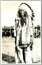 SIOUX INDIAN CHIEF LEADER CHARGE VINTAGE REAL PHOTO POSTCARD RPPC