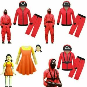 2Pcs SQUID GAME Kids Boys Girl Jumpsuit Party Cosplay Costume Fancy Dress Outfit