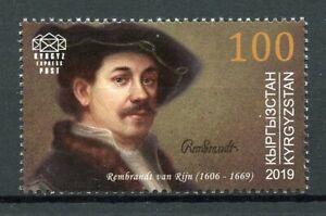 Kyrgyzstan Art Stamps 2019 MNH Rembrandt van Rijn Paintings Famous People 1v Set