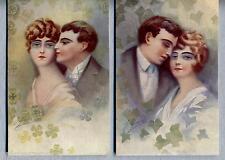 FAVRE Lotto 2 cartoline Amanti Donnine Liberty Glamour Lovers PC Circa 1910
