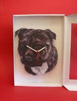 Staffordshire Bull Terrier Dog Wooden Wall Clock Pet Vet Gift Dog Gift Xmas NEW