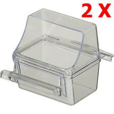 Lot of 2 Bird Transparent Clear Seed Food Water Feeder Feeding Cups - 240