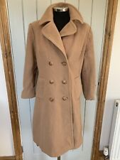 Vintage Coat 100% Wool Size 18 Light Brown Camel Long Quality Fashion Peacoat