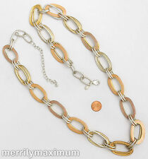 Chico's Signed Necklace Silver Gold Tone Long Oval Chain Pastel Orange Pink