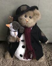 "BEARINGTON COLLECTION 12"" JACK BEAR W/FROST SNOWMAN FELT HAT COAT PATCHES PLUSH"