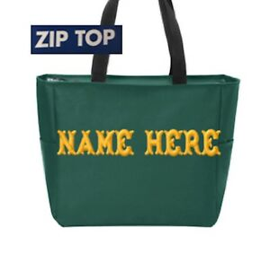 Custom Embroidered Personalized Monogrammed Tote Bag Green  Zip Top  FREE NAME