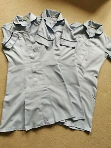 Alexandra Healthcare Nurse Uniform x 3 Dress Pale Blue/Navy trim  HP297S. 80 cms
