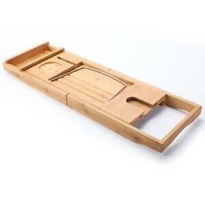 Pont de baignoire plateau de bain en bambou naturel support tablette téléphones