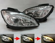LED BAR Headlight Set For Mercedes Benz W204 S204 Chrome Sequential Indicator